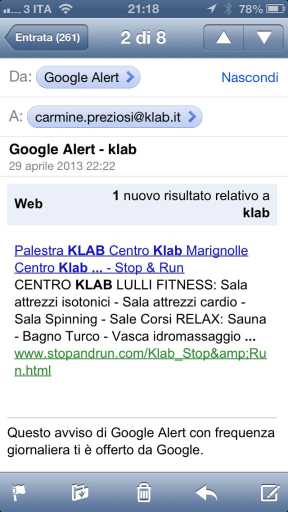 stop and run google alert