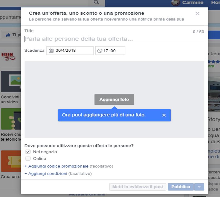 offerta facebook